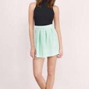 Tobi Skirts - Mint Pleated Skater Skirt